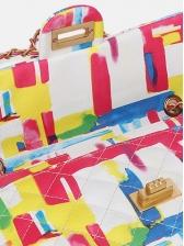 Mixed Color Rhombus Twist Lock Chain Shoulder Bag