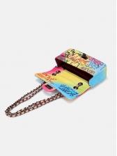 Multi-Purpose Spin Lock Iridescent Graffiti Chain Bag Waist Bag