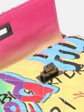 Rainbow Color Letter Graffiti Large Chain Shoulder Bag