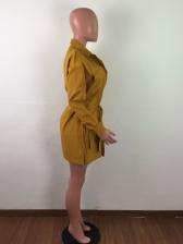 Turndown Neck Button Tie Wrap Long Sleeve Dress