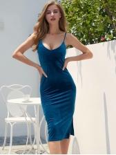 Solid Slim Split Velvet Sleeveless Dress