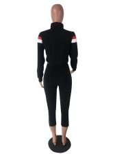 Contrast Color Long Sleeve Two Piece Pants Set