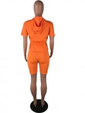 Hooded Collar Smart Waist Shorts Co Ord Set
