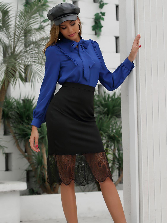 Patchwork Lace Fishtail Black Skirt