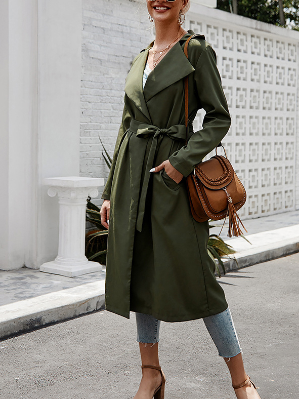 Solid Versatile Lace Up Trench Coat