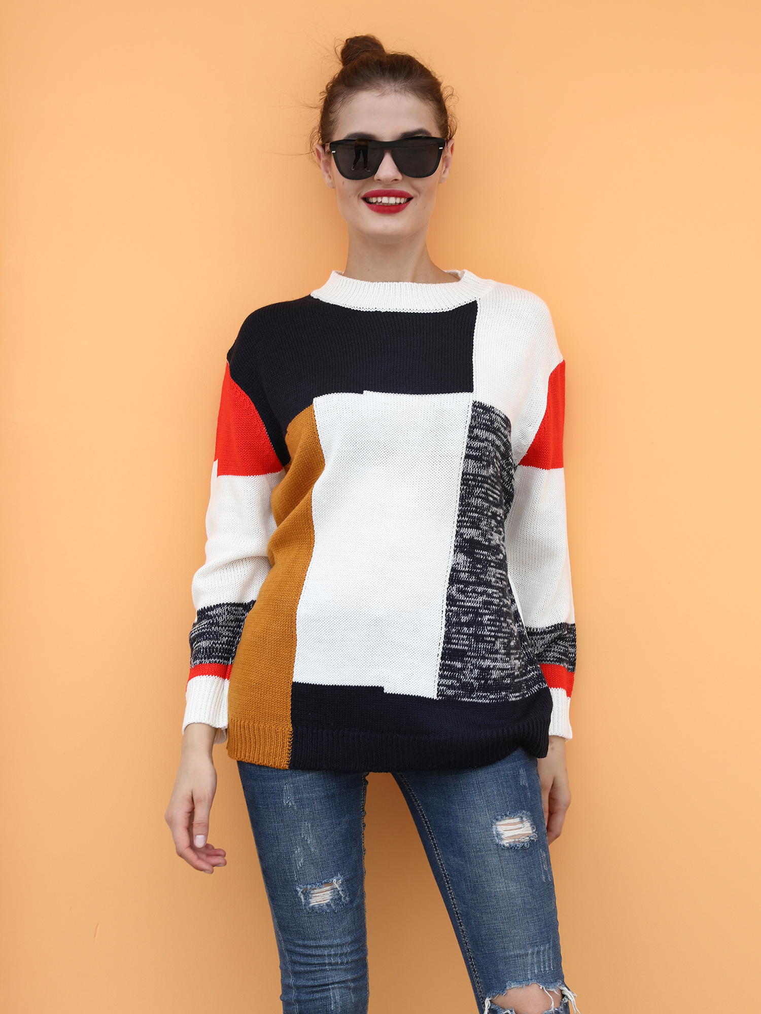 Autumn New Arrival Color Block O Neck Knit Sweater