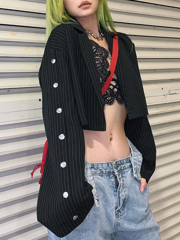 Striped Button Decor Long Sleeve Cropped Black Blazer