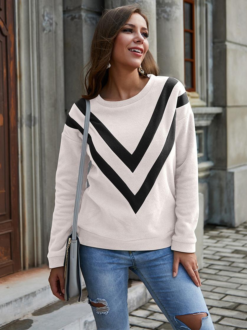 Letter V Contrast Color Sweatshirt For Women