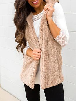 Winter Hooded Solid FluffyVest Coat