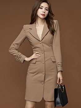 Lapel Collar Khaki Long Sleeve Blazer Dress