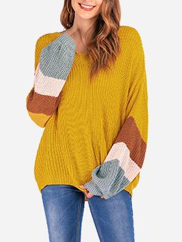 Contrast Color Knitting Loose V Neck Sweater