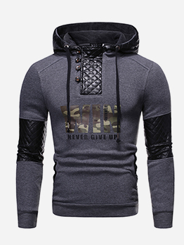 Fashion Mesh Patchwork Letter Hoodie