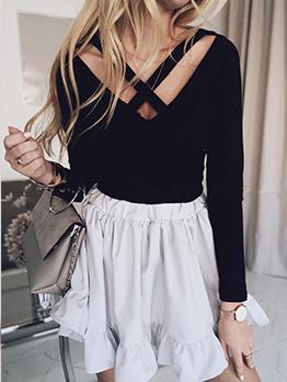 Criss Cross Black Long Sleeve Shirt