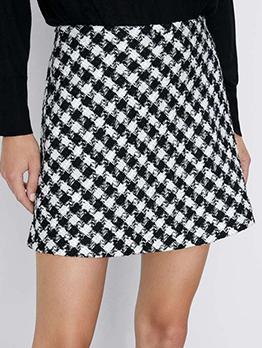 Fashion Houndstooth a Line Skirt