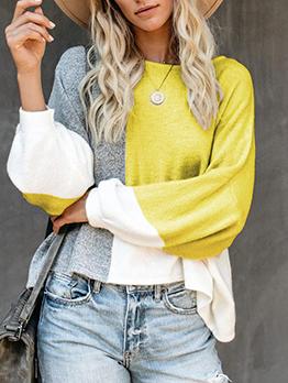 Casual Color Block Cotton Crew Neck Sweater