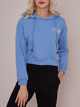 Simple Letter Embroidered Short Hoodies For Women
