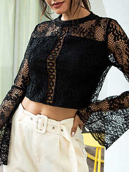 Sexy Lace Hollow Out Flare Sleeve Black Blouse