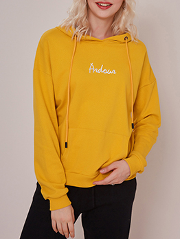 Minimalist Letter Embroidery Women Hoodies In Yellow