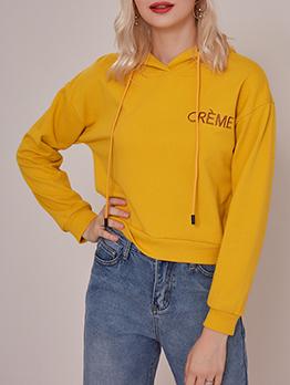 Autumn Letter Design Short Hoodies For Women