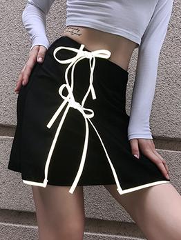Fashion Reflective Stripe Decor Black Skirt