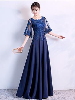Lace Patchwork Slim Fit Maxi Dresses