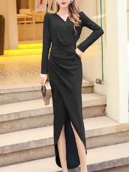 Solid Fishtail Design Low-High Midi Dress
