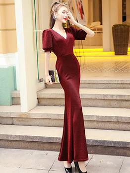 Elegant Fishtail v Neck Maxi Dresses For Women