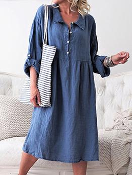 Turndown Neck Solid Long Sleeve Shirt Dress