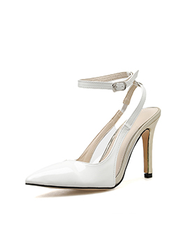 White Pointed Ankle Strap Heels