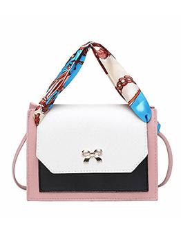 Silk Scarves Decor Metal Bow Skinny Belt Shoulder Bag