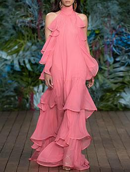 Off Shoulder Multilayer Ruffle Blush Evening Dress