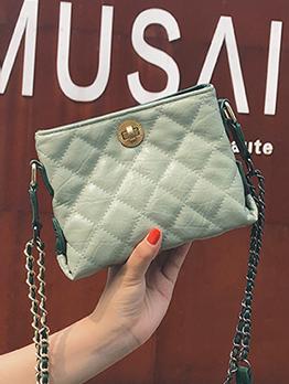 Rhombus Solid Color Chain Shoulder Bag