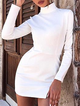 High Collar Slit Mini Ladies White Dress