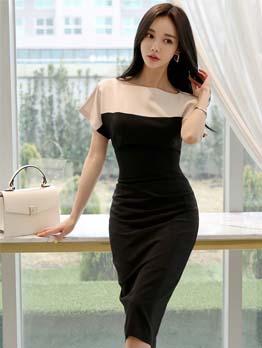 Contrast Color Short Sleeve Bodycon Dress
