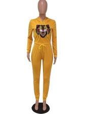 Casual Tiger Long Sleeve Hooded 2 Piece Sets