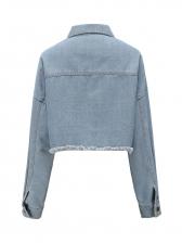 Washed Short Solid Denim Jacket