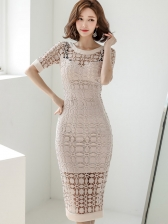 Bodycon Short Sleeve Lace Dress For Women