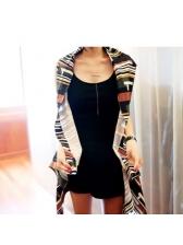 V Neck Geometric Printed Irregular Cardigan Dress