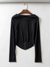 Solid Zipper Up Long Sleeve Shirts