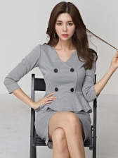 Double-Breasted Houndstooth Gray Short Sleeve Dress