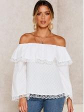 Off Shoulder Tassel Long Sleeve White Blouse