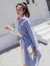 Turndown Neck Contrast Color Striped Shirt Dress