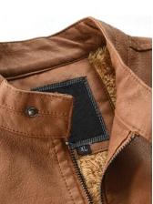 Pu Pockets Solid Men Winter Jacket