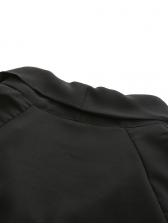 Bow Neck Black Long Sleeve Short Dress