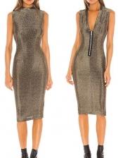 V Neck Sleeveless Fitted Glitter Ladies Dress