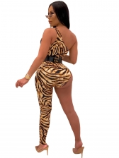 Irregular Leopard Incline Shoulder Sexy Jumpsuit