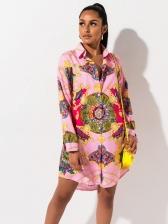 Turndown Neck Vintage Printed Long Sleeve Shirt Dress