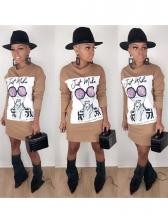 Figure Printed Long Sleeve t Shirt Dress