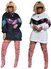Winter Crew Neck Sequin Plush Long Sleeve Dress