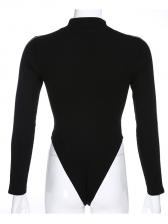 Mock Neck Letter Long Sleeve Black Bodysuit